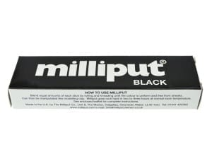 Milliput Black is a modelling epoxy putty which sets straight to black