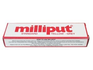 Milliput Standard Epoxy Putty sets to a dark yellow colour and is used for military, railway, farm and ship modelling