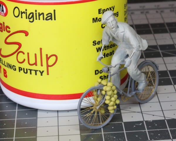 A man on a bicycle sculpted with Sylmasta Magic Sculp