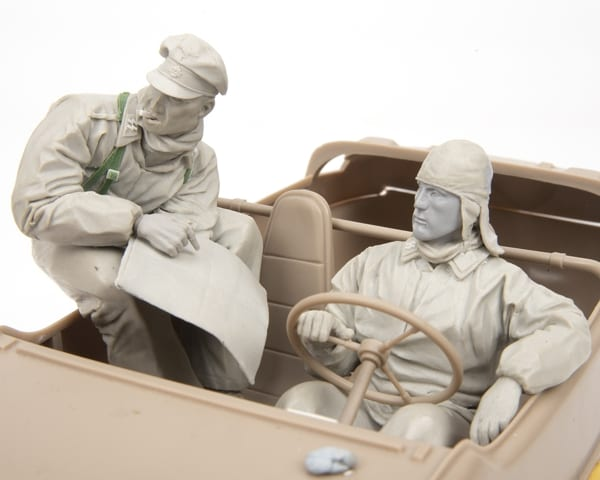 Two soldiers sculpted from Magic Sculp by David Parker as part of an AFV Model project