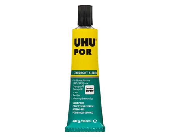 UHU Por is a quick-setting adhesive specially formulated for bonding polystyrene to both itself and other materials