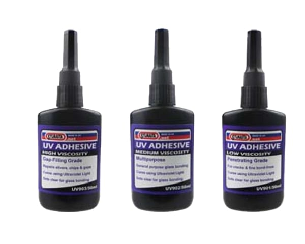 Sylmasta UV Glass Bonding adhesives are specially forumlated for bonding and repairing glass. They only cure when exposed to UV light