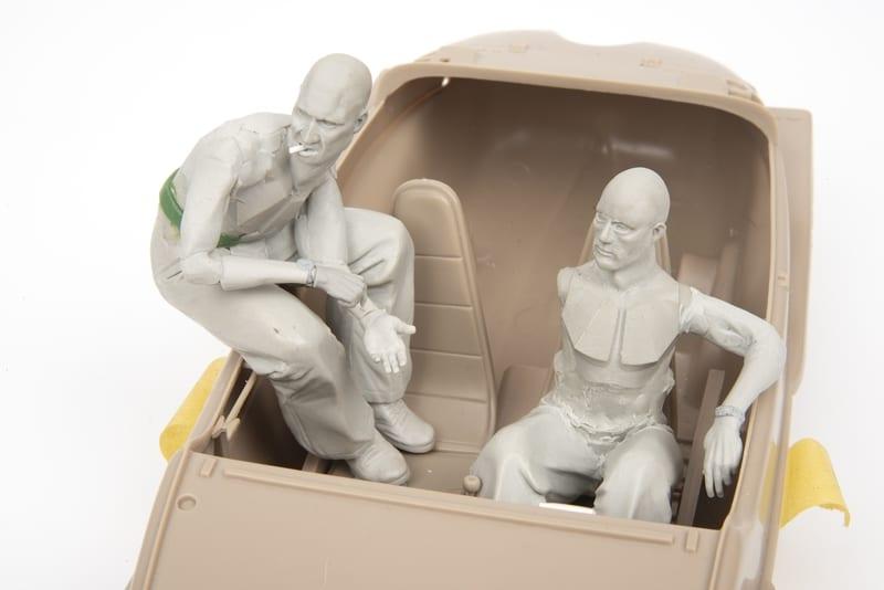 An Eduard Schwimmwagen Crew being sculpted by award winning model maker David Parker