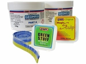 The Modelling Putty Kit contains Green Stuff, Magic Sculp and Geomfix A+B Original for use in a range of model making and sculpting tasks