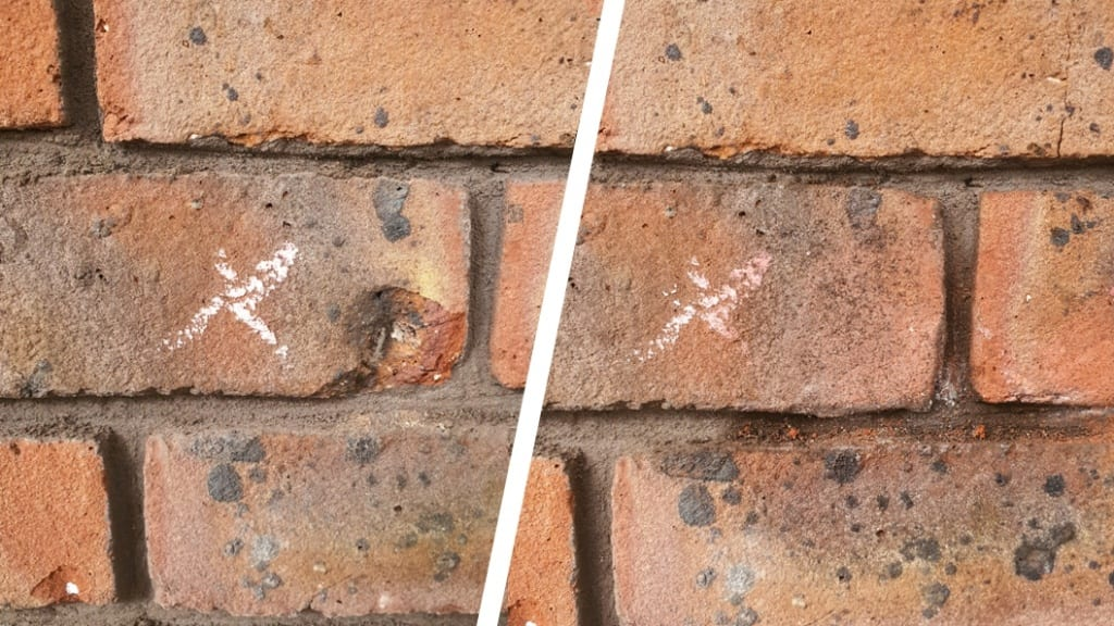 Before and after of a restoration project carried out to damaged brickwork caused by lime blow using modelling putty