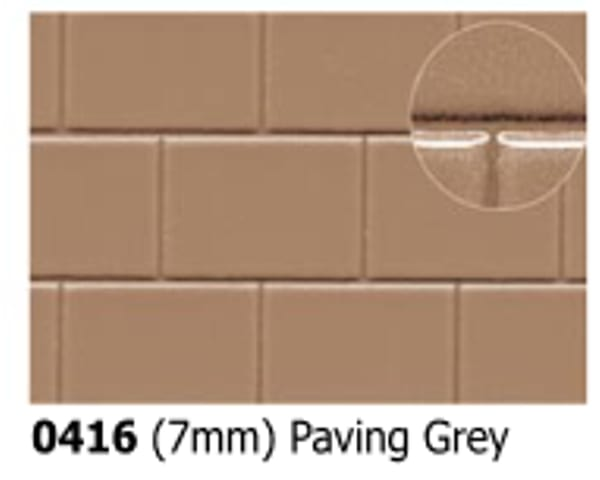 Slater's Plastikard 0416 is plasticard featuring Paving Grey Pattern for 7mm scale