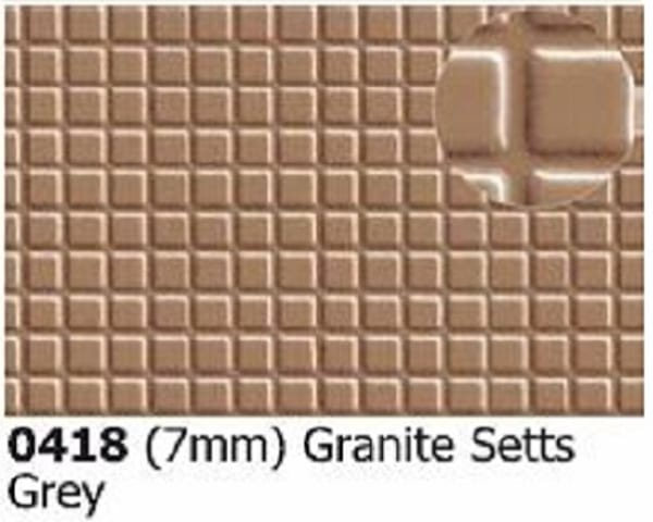 Slater's Plastikard 0418 is plasticard featuring a Granite Setts Pattern for 7mm scale