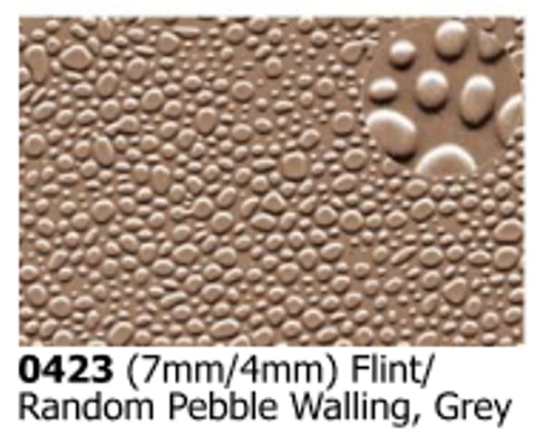 Slater's Plastikard 0423 is plasticard featuring Flint/Random Pebble Walling pattern for 7mm and 4mm scale