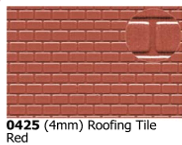Slater's Plastikard 0425 is plasticard featuring Roofing Tile Red pattern for 4mm scale