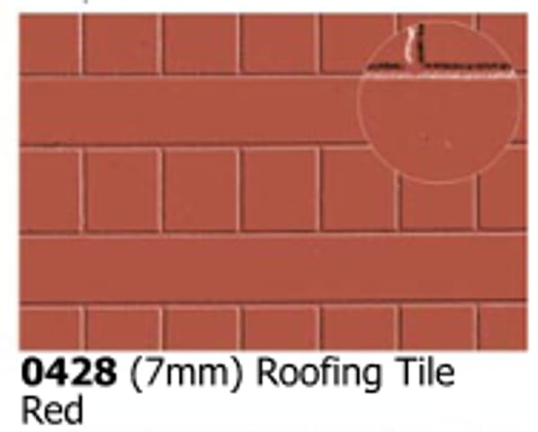 Slater's Plastikard 0428 is plasticard featuring Roofing Tile Red pattern for 7mm scale