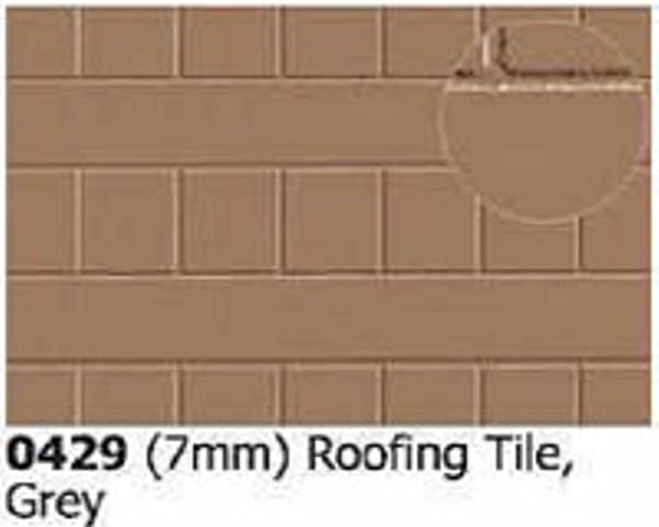 Slater's Plastikard 0429 is plasticard featuring Roofing Tile Grey pattern for 7mm scale