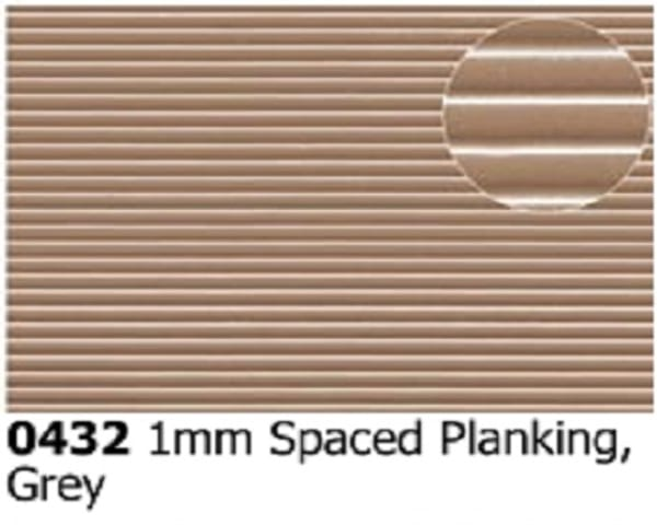 Slater's Plastikard 0432 is plasticard featuring a patten of 1mm Spaced Grey Planking