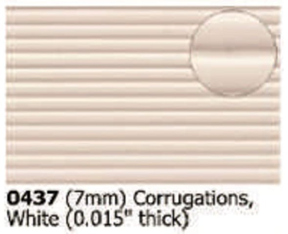 Slater's Plastikard 0437 is plasticard featuring Corrugations White pattern for 7mm scale