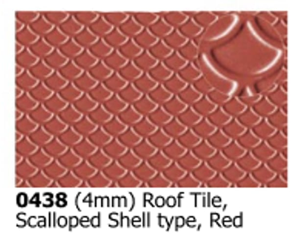 Slater's Plastikard 0438 is plasticard featuring Scalloped Shell Roof Tile Red pattern for 4mm scale