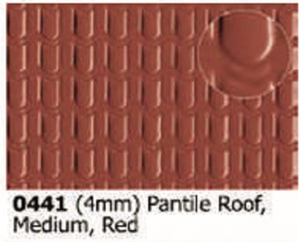 Slater's Plastikard 0441 is plasticard featuring Pnatile Roof Red pattern for 4mm scale
