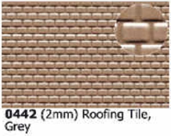 Slater's Plastikard 0442 is plasticard featuring 2mm Roofing Tile Grey pattern
