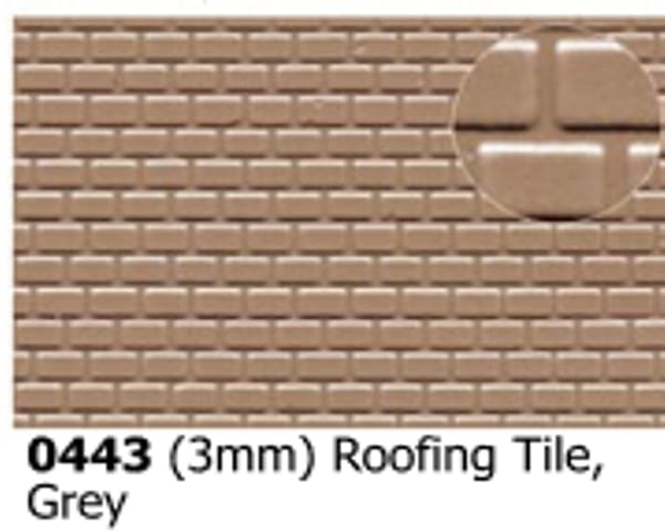 Slater's Plastikard 0443 is plasticard featuring 3mm Roofing Tile Grey pattern