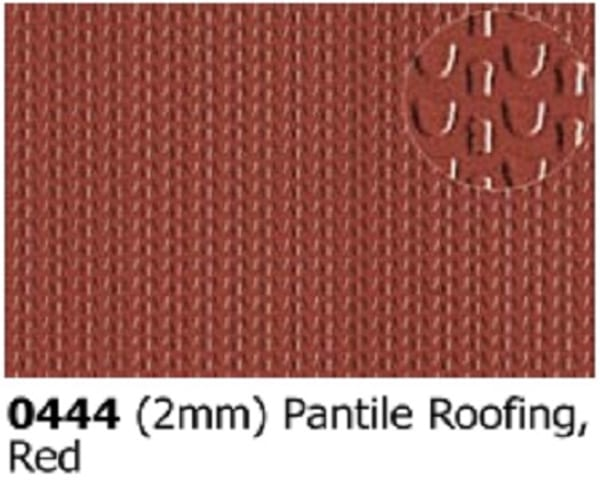 Slater's Plastikard 0444 is plasticard featuring Pantile Roofing Red pattern for 2mm scale