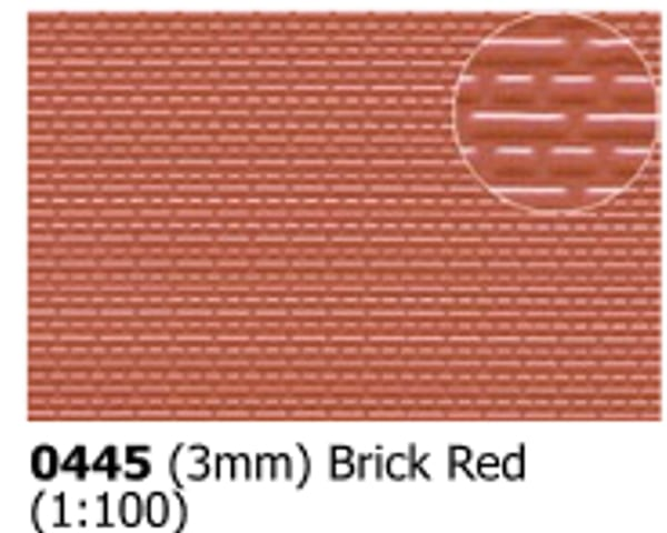 Slater's Plastikard 0445 is plasticard featuring 3mm Brick Red pattern