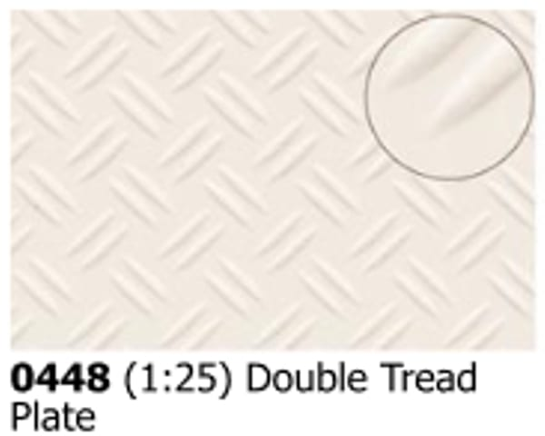 Slater's Plastikard 0448 is plasticard featuring Double Tread Plate pattern for 1:25 scale