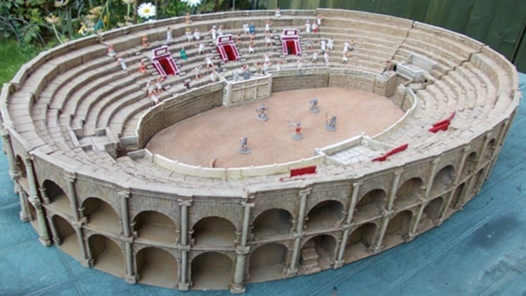 A Roman amphitheatre created from casting resin is an example of the type of historical building which can be made from casting resin