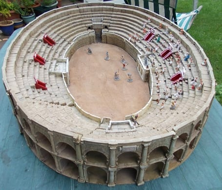 A Roman amphitheatre cast from polyurethane casting resin and made using a silicone mould which took two years to create