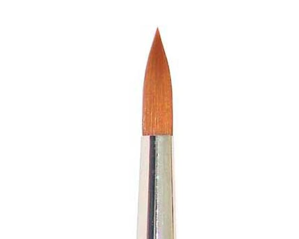 Rosemary 301 Series is a a vegan friendly paint brush set featuring a pointed round golden synthetic nylon brush
