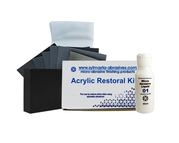 The Sylmasta Acrylic Restoral Kit contains all the products needed to polish acrylic and plastic to a high gloss, ultra shiny finish