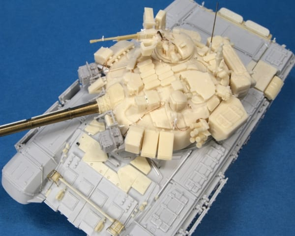 A scale model Russian T-90 tank, casting resin was used to build the turret is from multiple copies of scratch-built parts