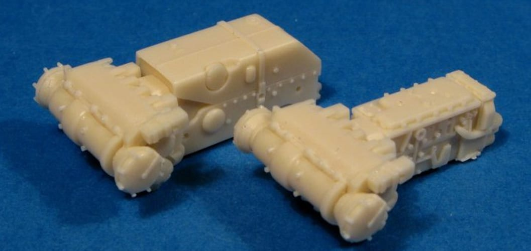 Transmissions for a 1/72 scale Tiger II tank made using casting resin